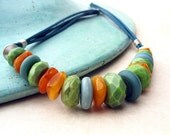 Green, Turquoise and Honey Amber, Necklace on Leather Cord