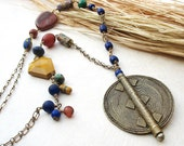 ON RESERVATION -  Long Tribal Chain Necklace, African Brass Pendant Necklace, Millefiori Trade Beads in Rust Saffron Blue Green,