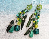 Extra Long Gypsy Boho Beaded Earrings Chartreuse Glass Hoops Teal Turquoise Green Aqua Sterling Silver