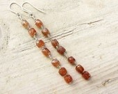 Extra Long Beaded Chain Dangle Earrings Ombre Copper - Cream Rutilated Quartz Cubes Sterling Silver, OOAK one of a kind