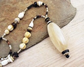 Long Tribal Necklace, Pendant Necklace, White Agate Pendant on Seed Beads Chain Necklace, African Trade Bead Necklace