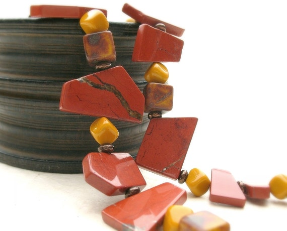 Beaded Necklace with Sienna Jasper Slabs, Cube Glass Beads, Earth Tones Fall Colors SALE