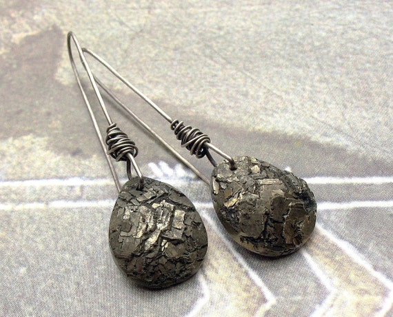 Long Titanium Wire Wrapped Earrings, Sparkling Pyrite Drops, Sterling Silver