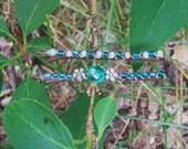 Set of Two 2'' Teal and Silver Beaded Bobby Pins