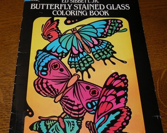 Butterfly Stained Glass Coloring Book Ed Sibbett Jr. 1985