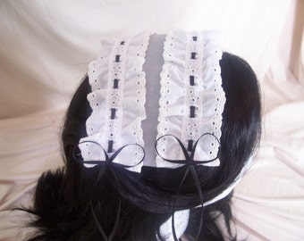 Black and Silver Lolita Cap with White Lace and Black Bows