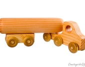 Natural & Organic Wooden Toy Semi Truck with Tanker Trailer