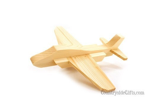Wooden Toy Jet Plane by CountrysideGiftsLLC on Etsy