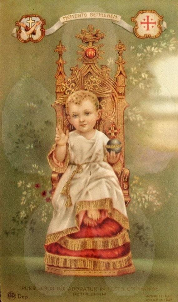 Papergoods. Vintage Antique Holy Card .Baby Jesus Holy Card. Italian. Antique Paper Ephemera