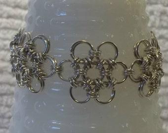 Chainmail Japanese Flower Bracelet