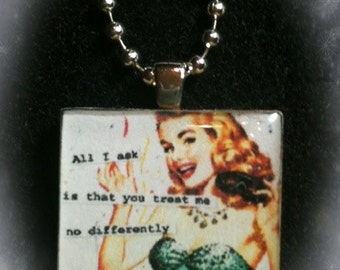 1 in. Wood Tile Pendant Necklace--Funny sarcasm