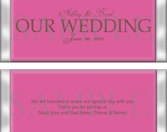 Our Wedding Day Pink Candy Wrapper