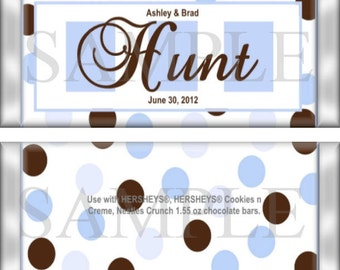 Blue and Brown Dots Wedding and Bridal Shower Favors Candy Wrappers PERSONALIZED