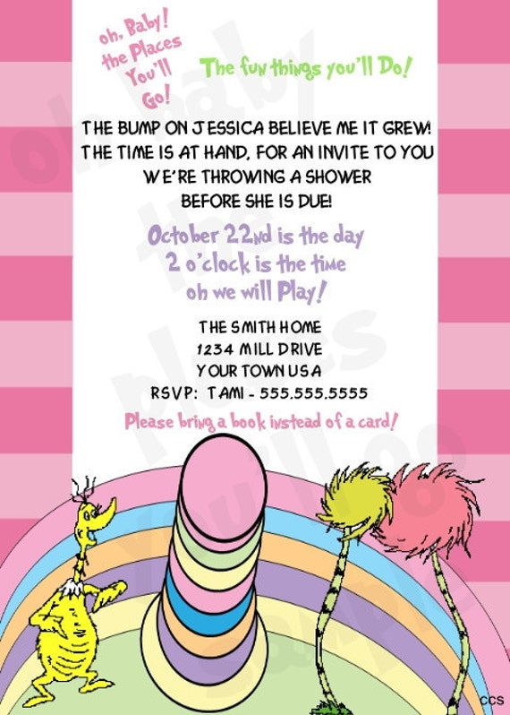 dr seuss oh the places you 39 ll go baby shower invitation