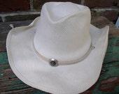 Cowboy Hat Scala Ladies Western Style Ivory Beach Straw
