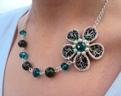 Silver and Green Flower-Asymmetric necklace- Handmade and unique- coiled wire and satin