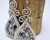 Teardrop and Spiral-unique handmade hook earrings