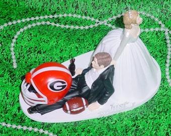 Georgia Bulldogs College Football Fan Sports University Groom Wedding Cake Topper Funny Weddings Mr Love Mrs Groom's Cake Idea decoration -1