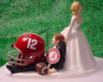 Alabama Crimson Tide College Football Grooms Fun Wedding Cake Topper-CF12