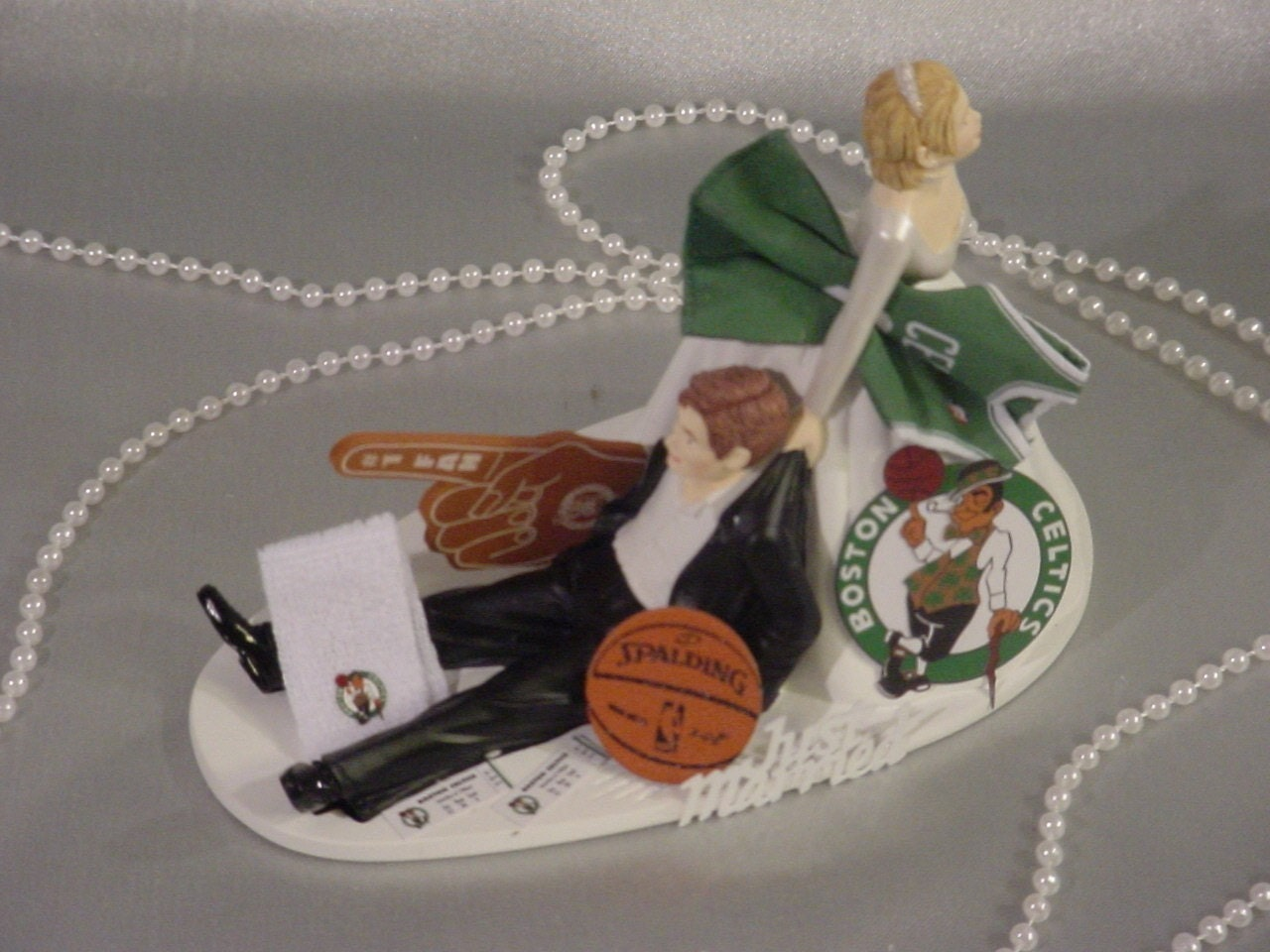 Boston Celtics Sports Fan Basketball Wedding Cake Topper