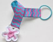 Pink and Blue Chevron Round Clip Pacifier Holder with Crochet Flower