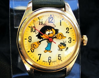 Vintage Swiss Made Character Watch, Runs Great