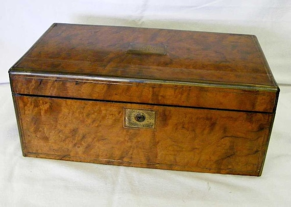 Antique Portable Writing Desk Walnut Burl By Watchmechanix