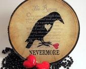 The Raven decoupage glass plate, macabre home decor, gothic Poe, broken heart, lost love, nevermore, valentine, anti valentine