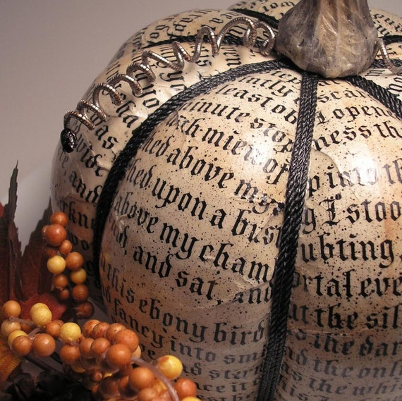 Harvest Poe Pumpkin decoupaged Fall holiday decor