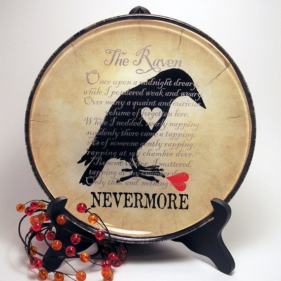 The Raven decorative glass plate, original decoupage, home decor