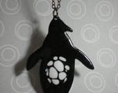 RESERVED - Copper Animal Necklace - Spotted Belly Penguine Black and White