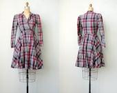 vintage 1980s dress / vintage 80s plaid dress / 1940s inspired wrap dress