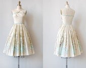 vintage 1950s dress / vintage 50s dress / vintage 1950s scenic sundress