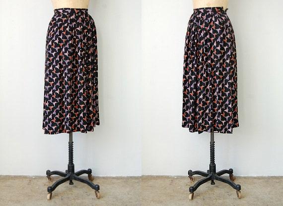 vintage 1970s skirt / vintage 70s skirt / novelty print skirt