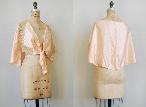 vintage 1930s bead jacket / silk lingerie / vintage boudoir cape / lace silk bead jacket