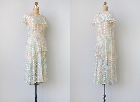 RESERVED... vintage 1920s dress / vintage 1970s flapper dress / sheer flapper inspired dress