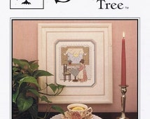 Afternoon Tea Counted Cross Embroidery Stitch Sampler Sunshine Through Window Gingham Curtains Craft Pattern Leaflet Sweetheart Tree SV-029