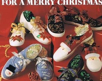 More Fancy Feet Sneaker Christmas Decorating Learn How Add Mistletoe Holly Poinsettias Reindeer Snow Ribbon Rick Rack Craft Pattern Leaflet