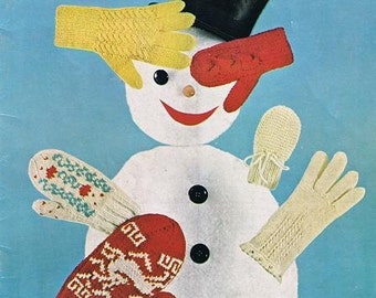 Bernat Gloves and Mittens for the Family Vintage Knitting Cables Reindeer Snowflakes Adult Children Sizes Craft Pattern Leaflet 82