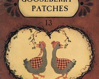 Gooseberry Patches Painted Country Motif Hen Duck Pig Swan Cow Watermelon Santa Claus Bluebirds Hearts Sheep Patterns Craft Leaflet