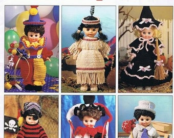 Dress-Up Dolls Crochet Clown Witch PIrate Harlequin Hobo Native American 13 Thirteen Inch Doll Clothes Costumes Craft Patterns Leaflet 2380