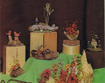 Driftwood Miniatures Directions Learn How to Make Natural Organic Arrangements Tableuas Dioramas Scenes Centerpieces Craft Pattern Leaflet