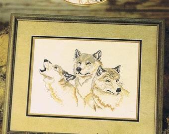 All For One Wolves Howling at the Moon Pack of Three Heads Hunting Counted Cross Stitch Embroidery Craft Pattern Leaflet 03-194