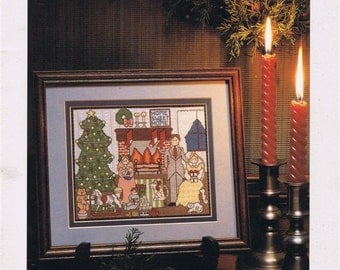 Just Cross Stitch Christmas Boy With Dog on Sled Stocking Sampler Ornaments Counted Embroidery Craft Pattern Magazine November December 1984