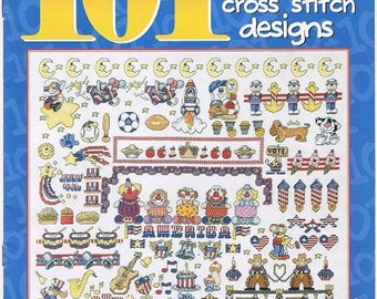 101 Fast Fun And Easy Counted Cross Stitch Emnbroidery Designs Stars Stripes Clowns Heart Sport Hamburger French Fries Craft Pattern Leaflet