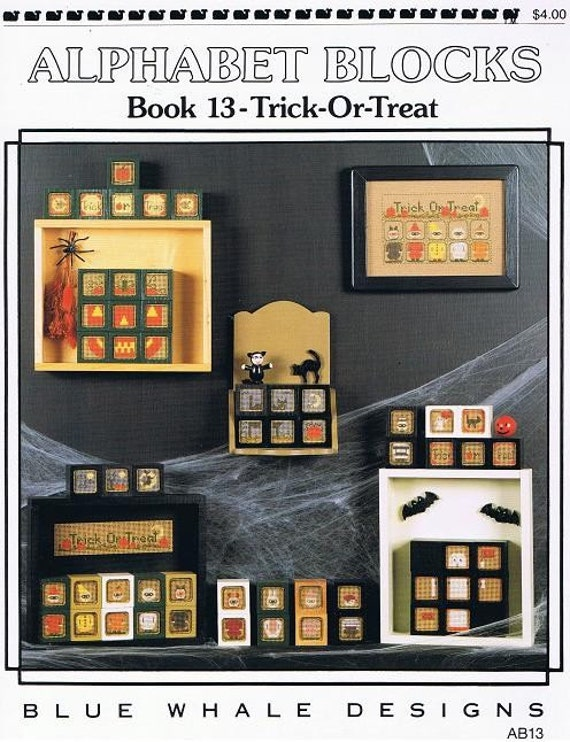 Alphabet Blocks Halloween Trick-Or-Treat Cross Stitch Embroidery Pattern Craft Leaflet