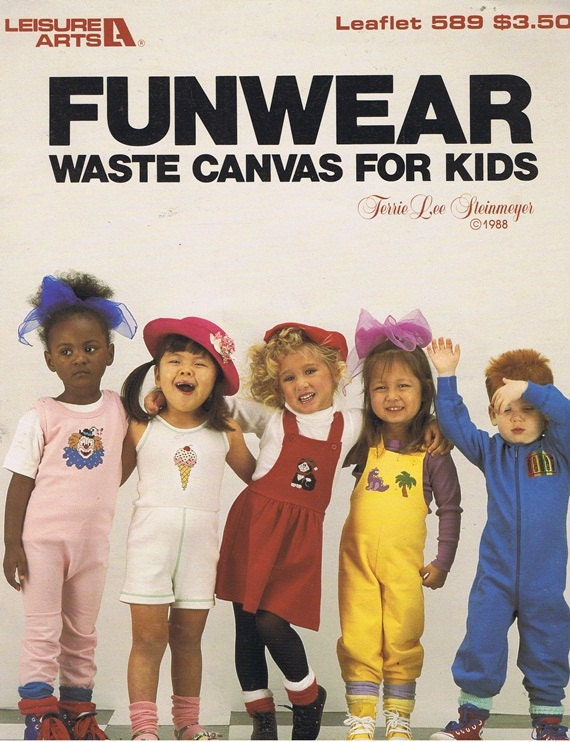 Funwear Waste Canvas For Kids Clown Ice Cream Crayons Rabbit Elephant Counted Cross Stitch Embroidery Craft Pattern Leaflet 589 Leisure Arts