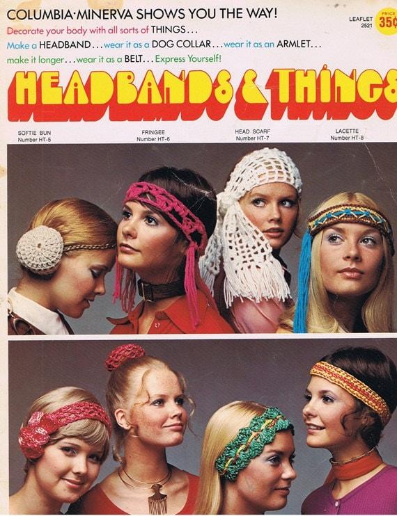 Headbands and Things 1970s Vintage Crochet Craft Pattern Leaflet 2521 Columbia-Minerva
