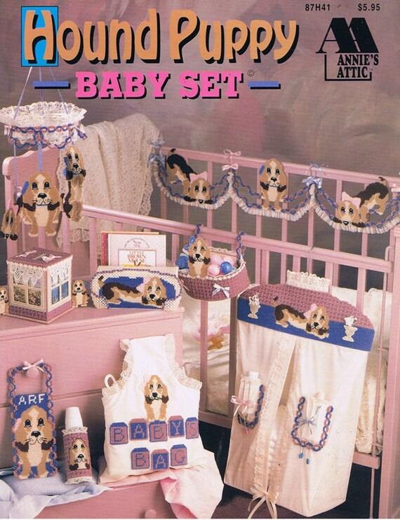 Hound Puppy Baby Set Cross Stitch Embroidery Craft Pattern Leaflet 87H41 Annie's Attic