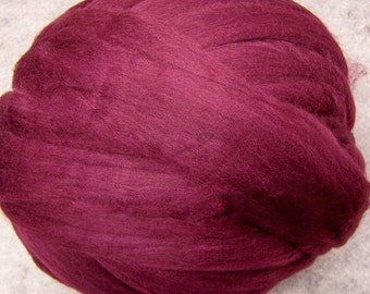 Wool Roving, Merino Wool Roving, Merino Wool, Felting Wool, Maroon Roving, Spinning Fiber, Spinning Wool - Maroon - 8oz